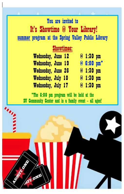 It's SHOWTIME! Summer Reading Program Dates and Times